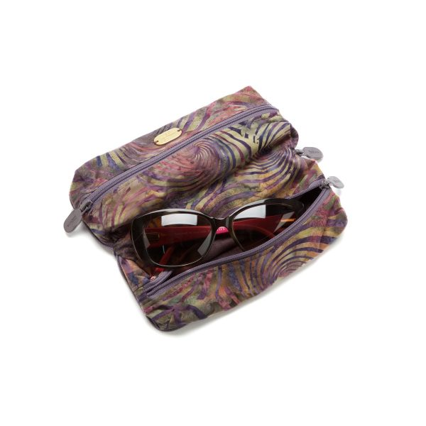 Double Glasses Case Pinwheel Plum Open Outside with Glasses