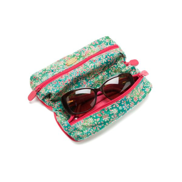 Double Glasses Case Sweet Pea Open Outside with Glasses