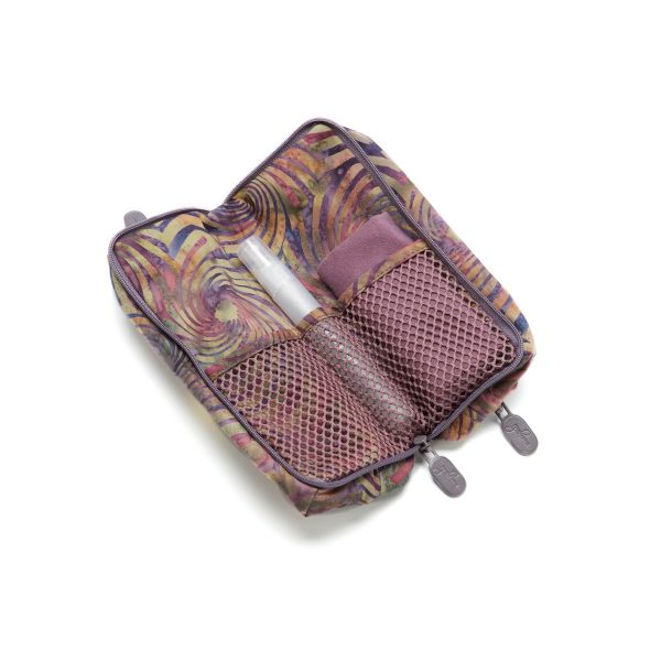 Double Glasses Case Pinwheel Plum Open Inside with cleaner