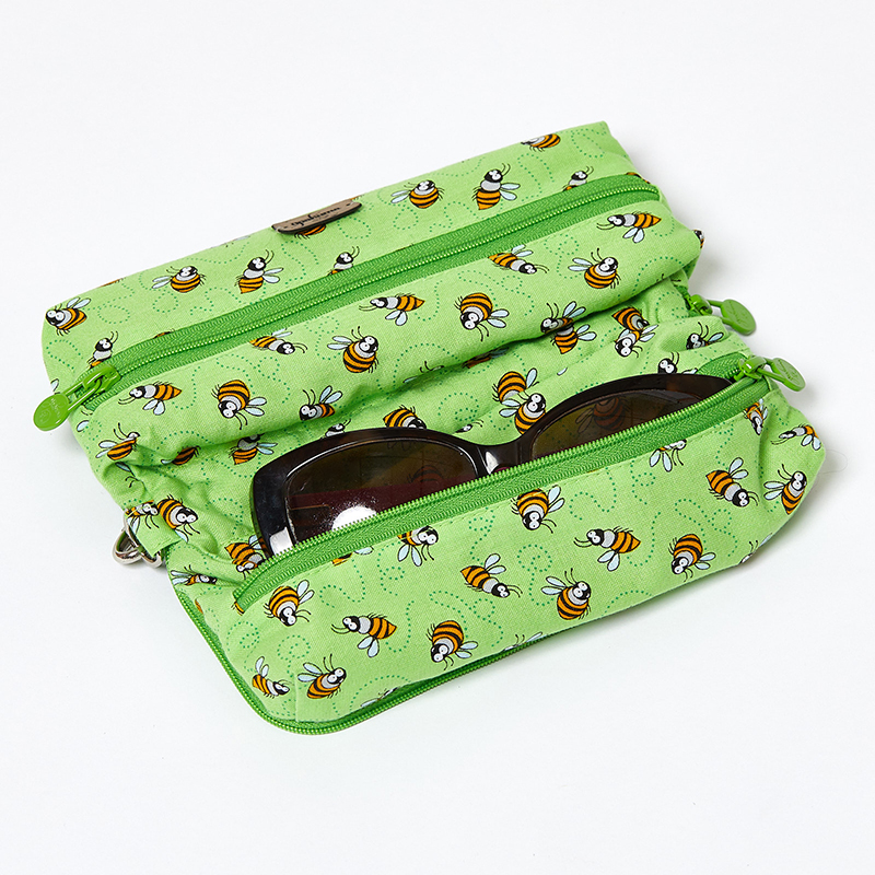 Multi-Purpose-Pouch-Lime-Bees-With-Glasses